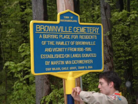 photo of new sign in Brownville Cemetery